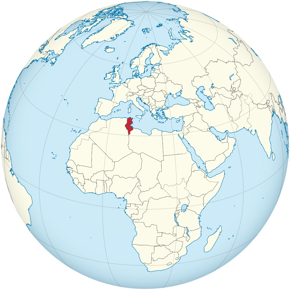 Tunisia on the globe