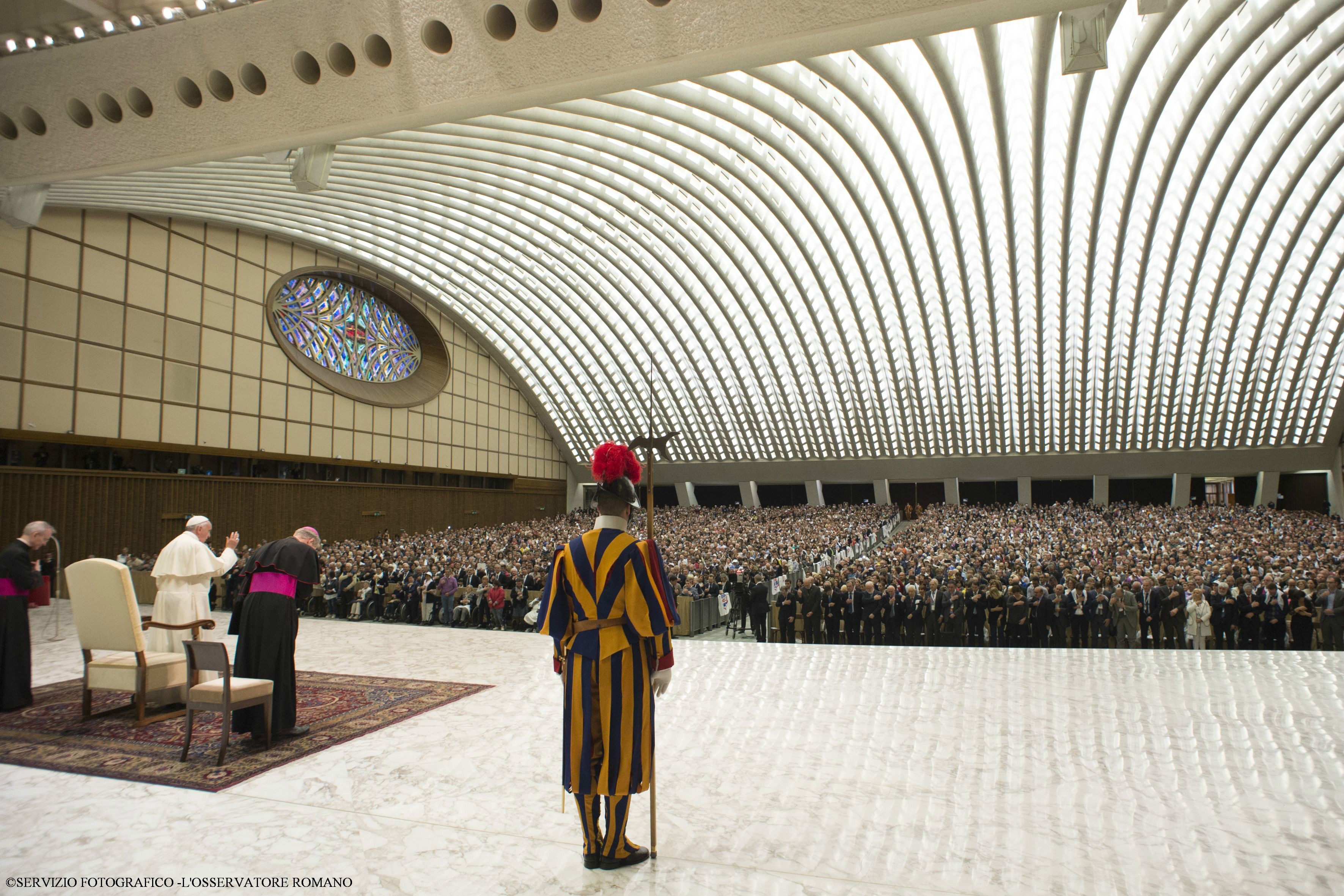 Pope Francis speaks during an audience to Italian Christian Workers Associations (ACLI) in the Paul VI Audience Hall