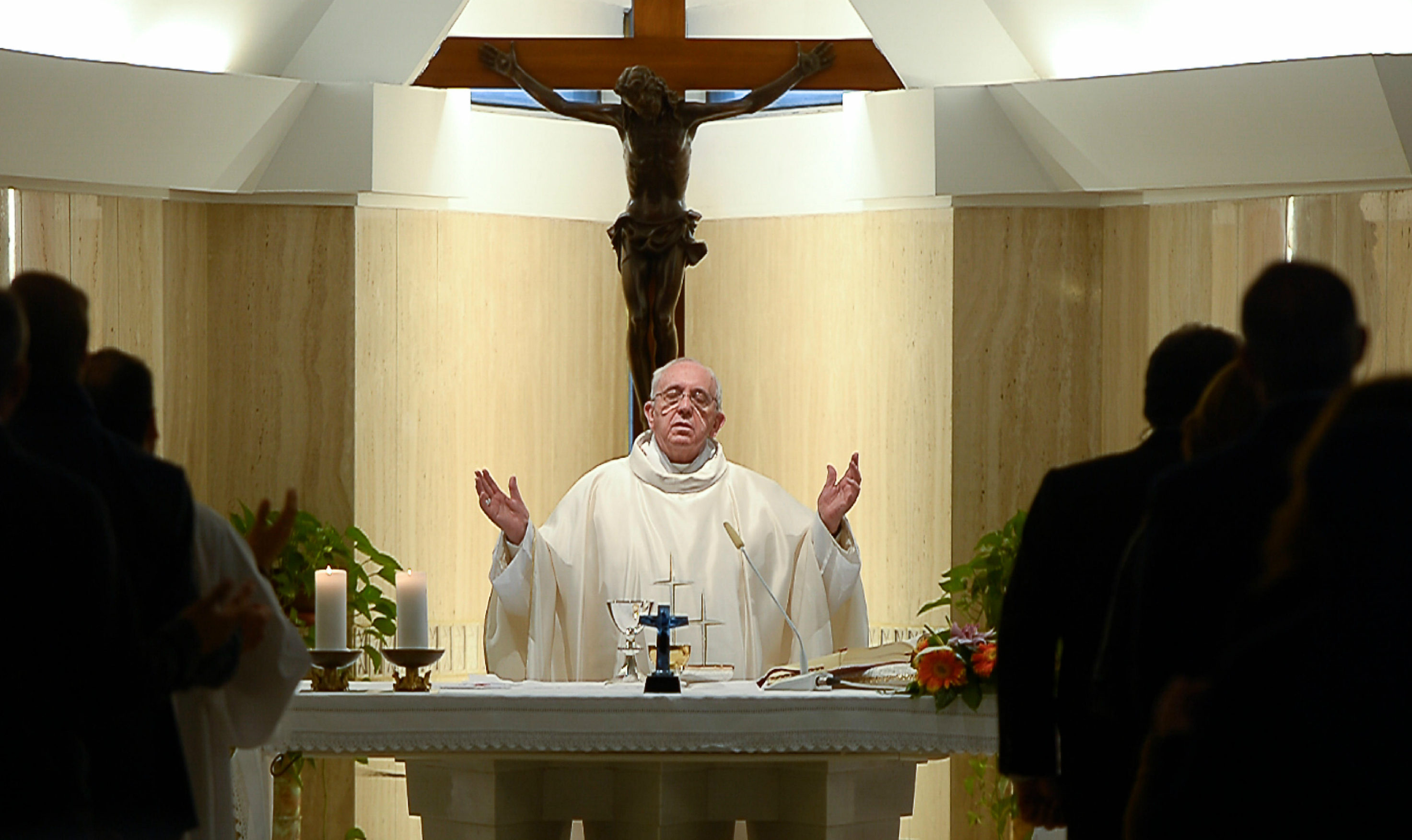 Pope Francis celebrating Mass in Santa Marta on Monday 25th of May 2015