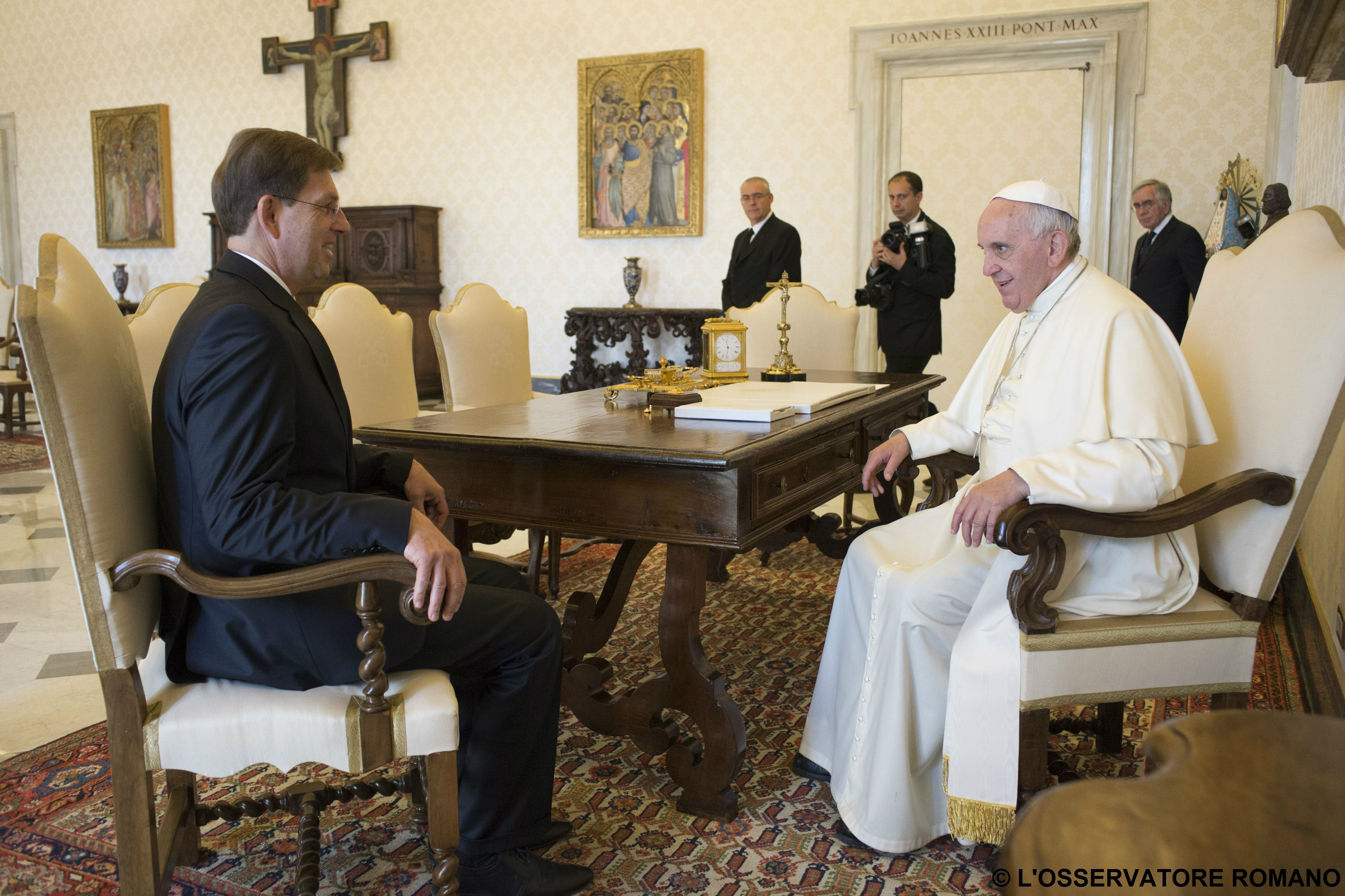 """Pope Francis receives the Slovenian Prime Minister Miroslav (""""Miro"""") Cerar in audience"""