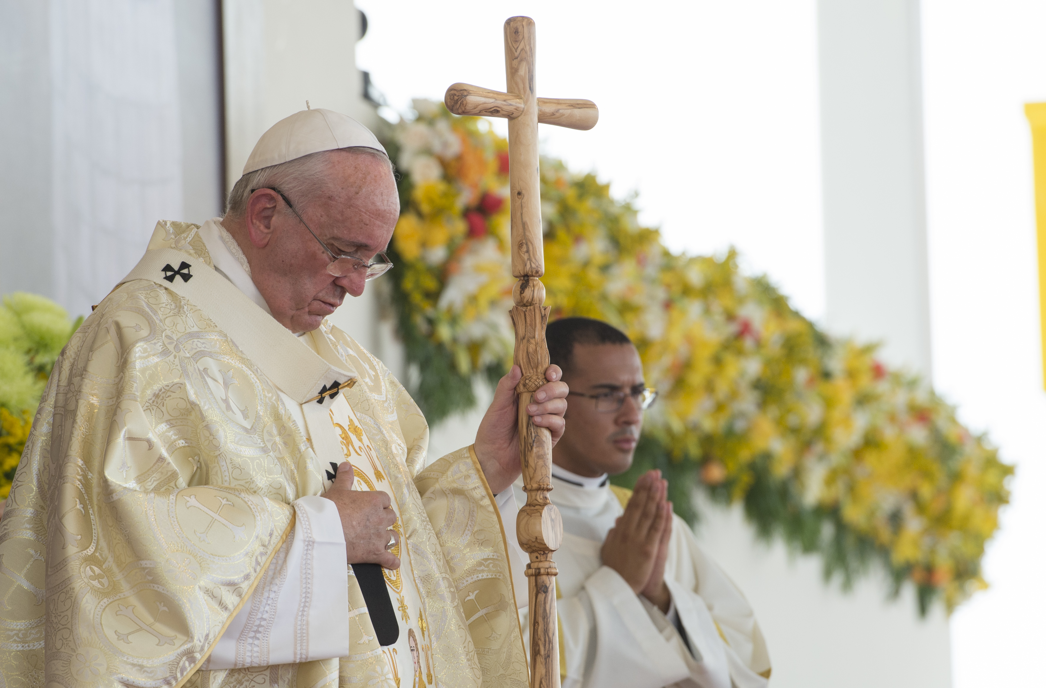 Pope Francis during Mass at the Samanes Park in Guayaquil