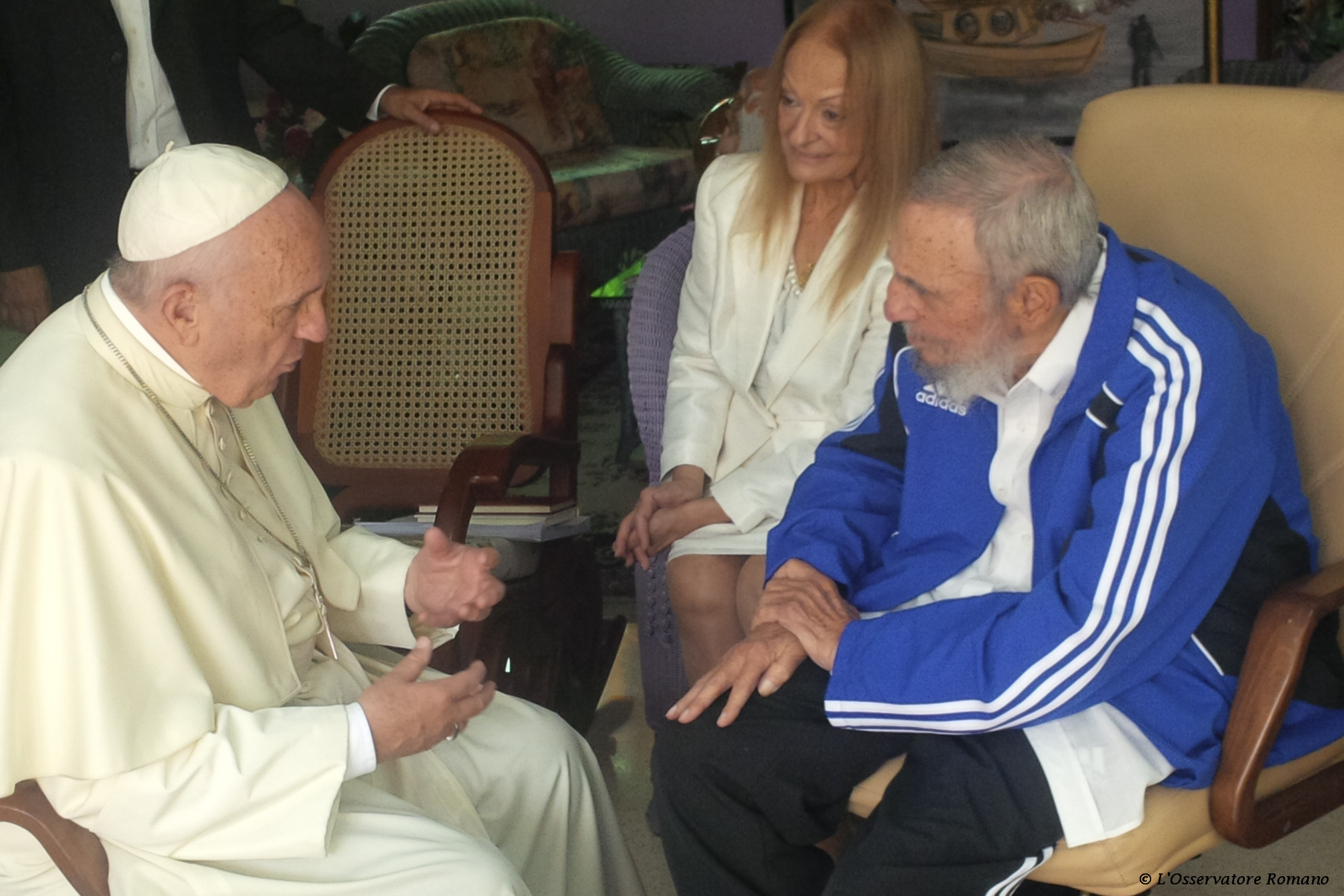 Pope Francis during his meeting with Fidel Castro