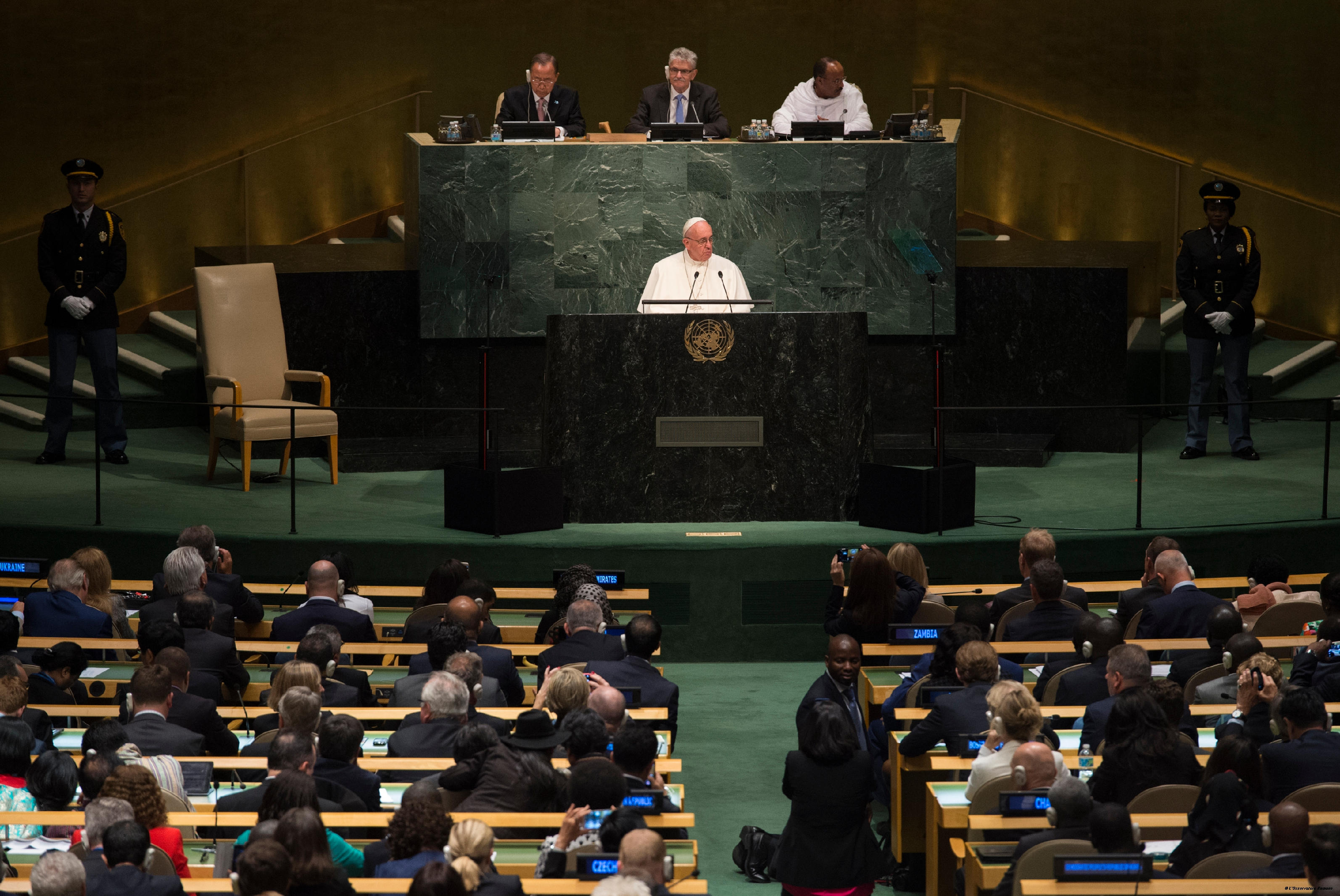 Pope Francis addresses the United Nations General Assembly in New York