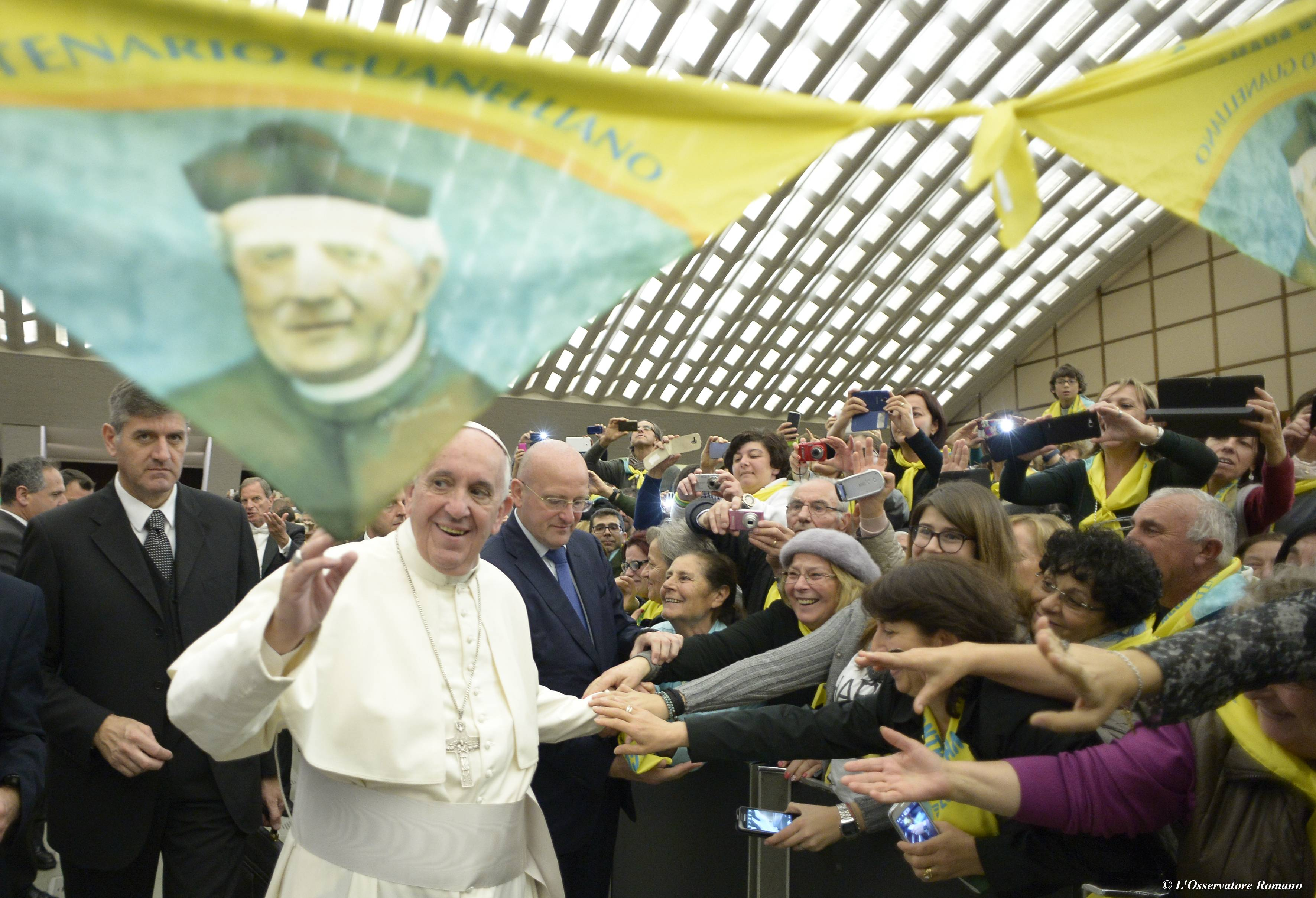 Pope Francis during the audience with members of the Don Guanella Charity foundation in the Paul VI hall
