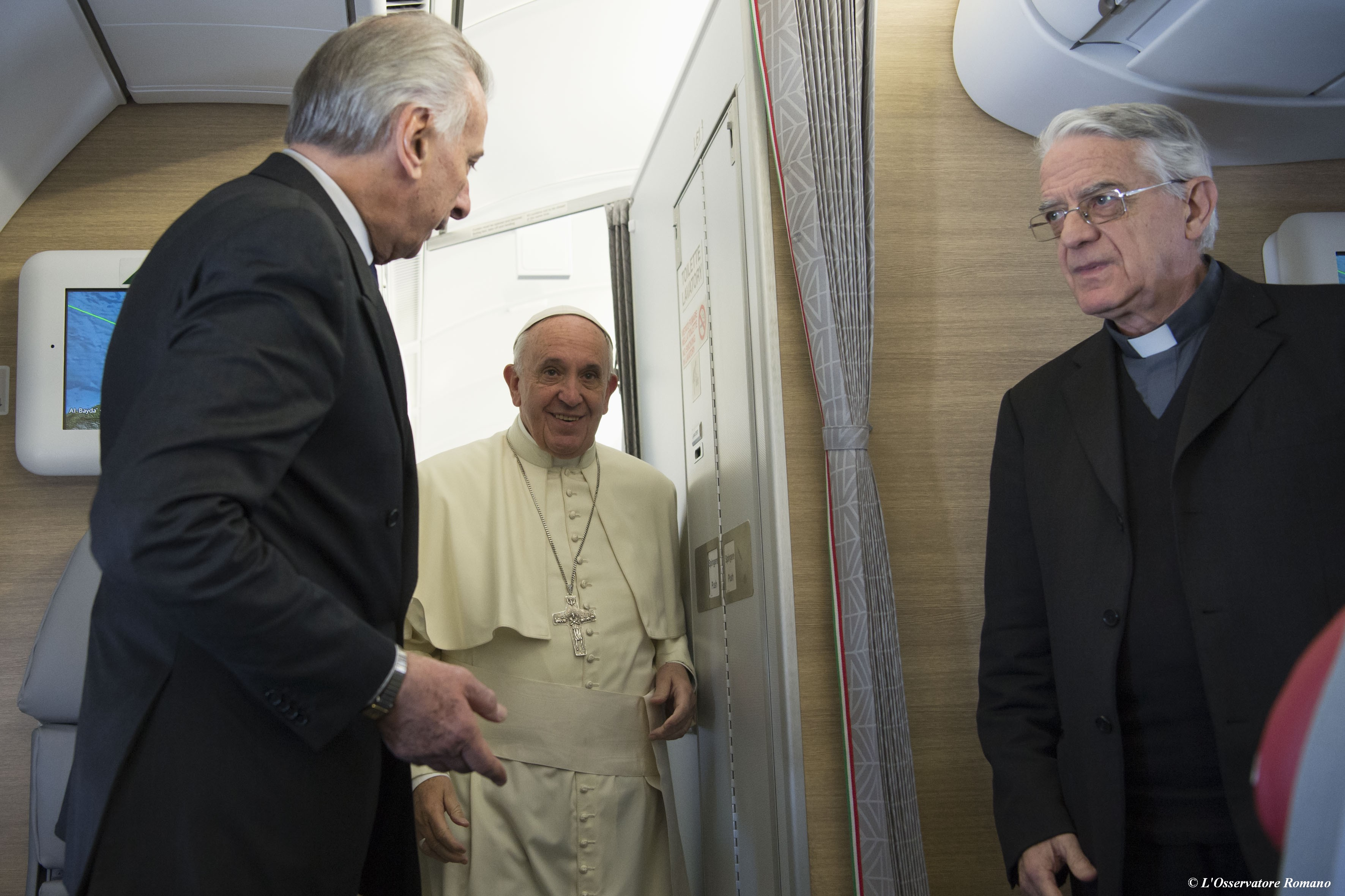 Pope Francis on the plane heading for Kenya