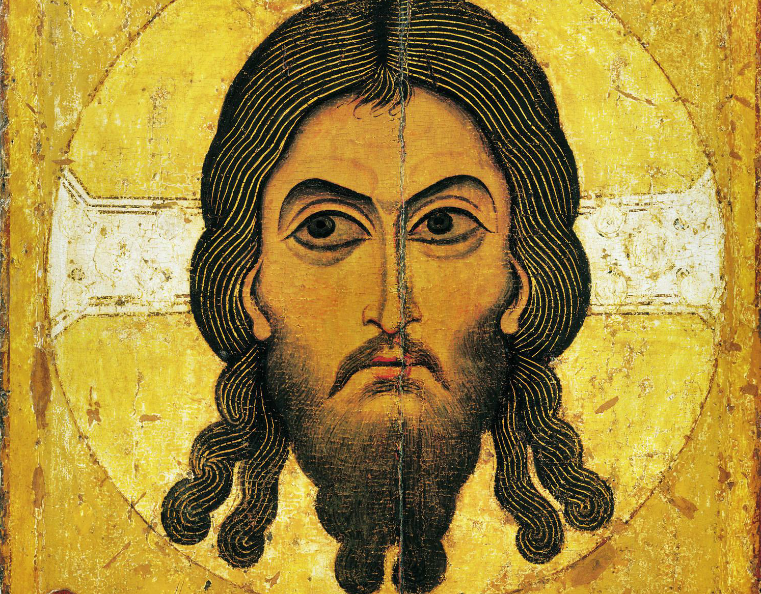 Christ Acheiropoietos (Made without hands). A 12th-century Novgorod icon from the Assumption Cathedral in the Moscow Kremlin
