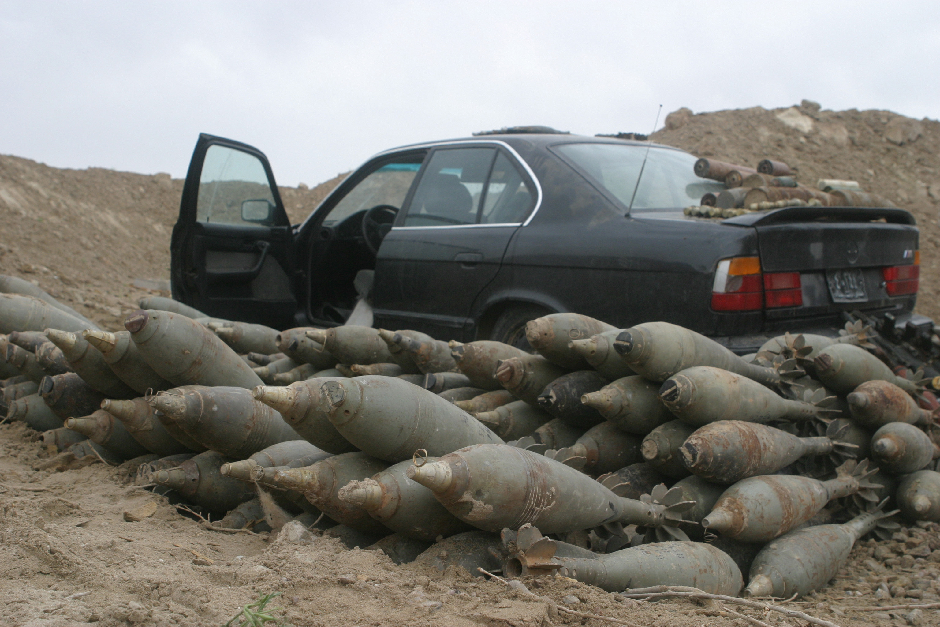 The mortars and the car are part of the 20 weapons caches that U.S. Marines from India Company