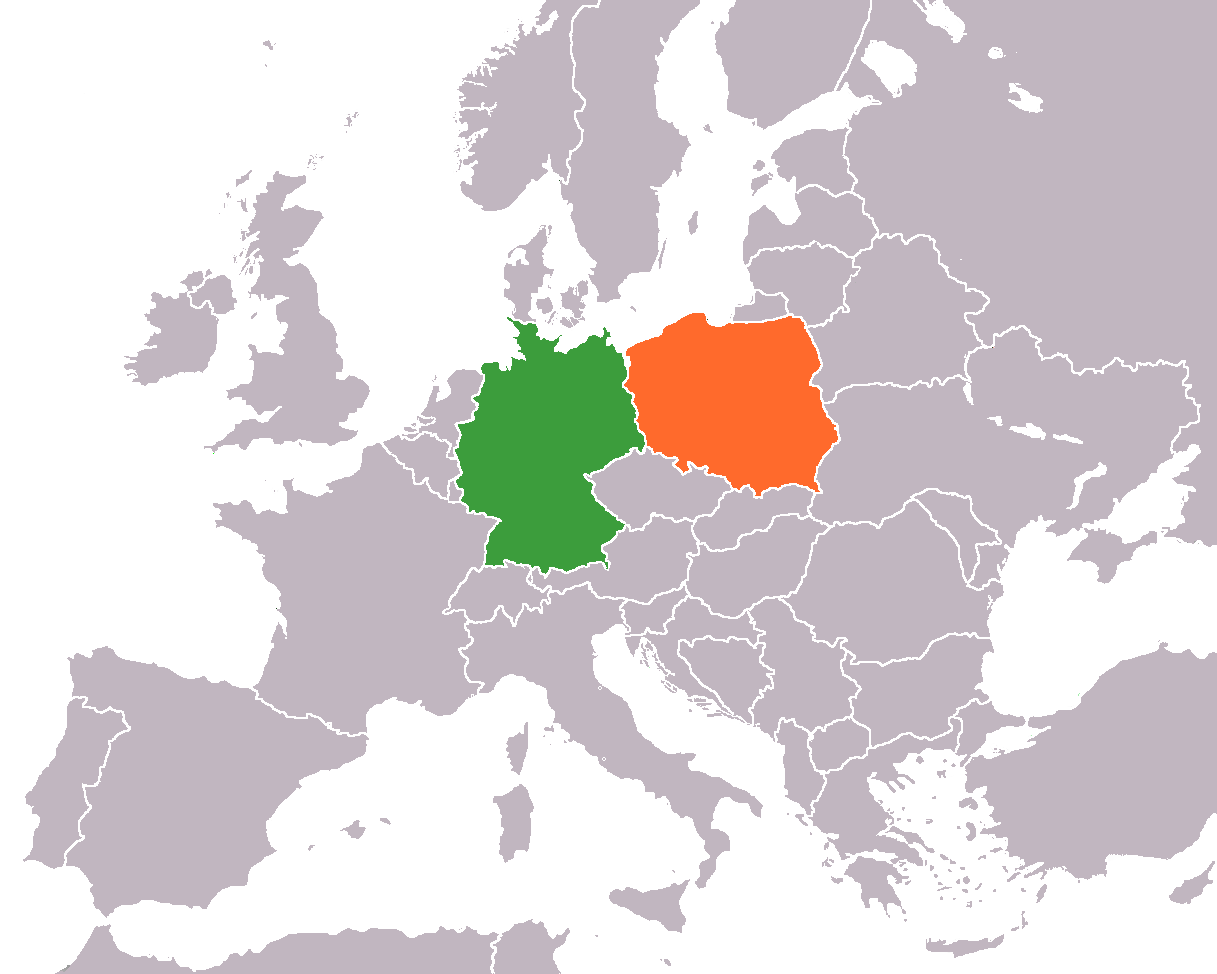 Map of Europe indicating Germany and Poland