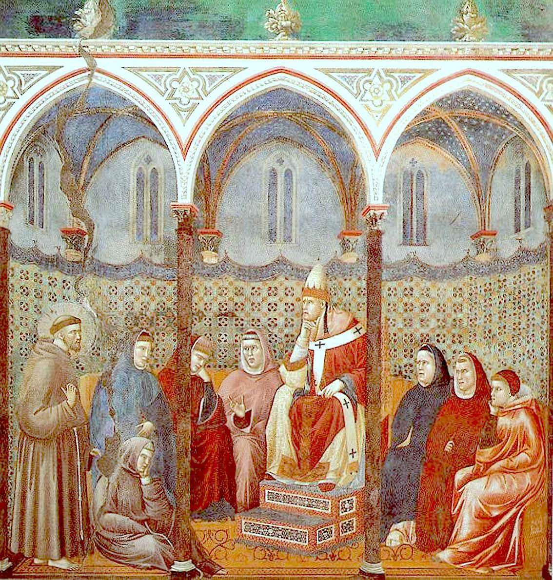 Saint Francis preaching before Pope Honorius III. Fresco of Giotto in the Superior Basilica of Assisi
