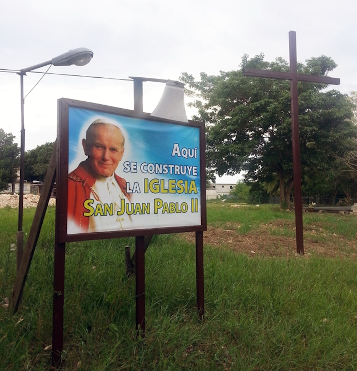 Bilboard at site of new church being built in Cuba