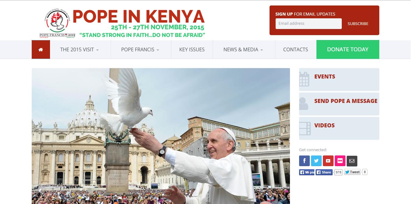 """Screenshot site """"Pope in Kenya"""""""