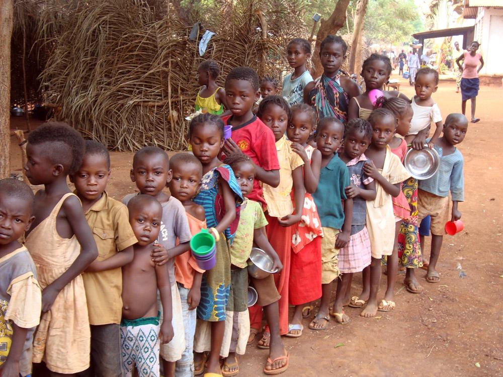 Children in a refugee camp in Bangui