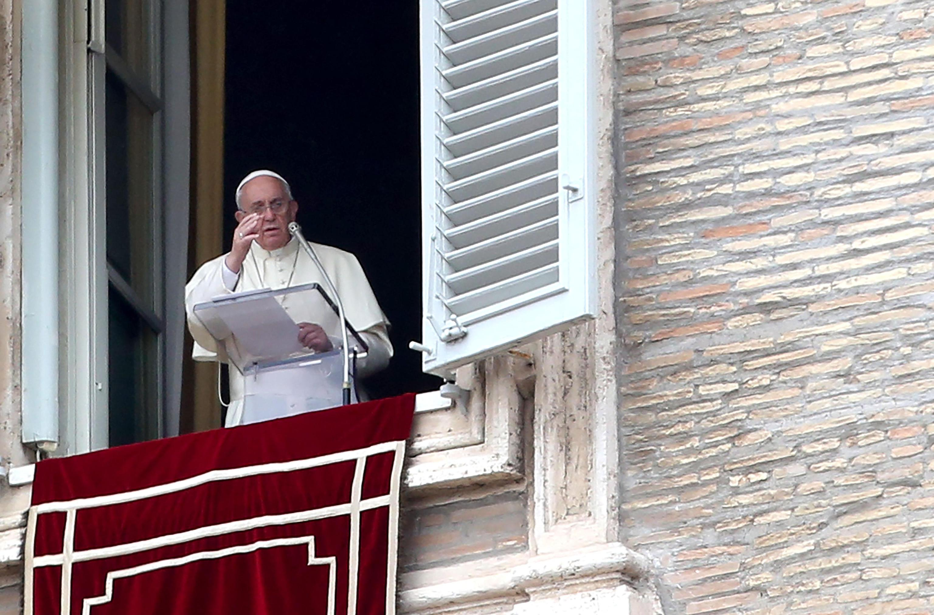 Pope Francis during the Regina Coeli prayer in St. Peter's Square