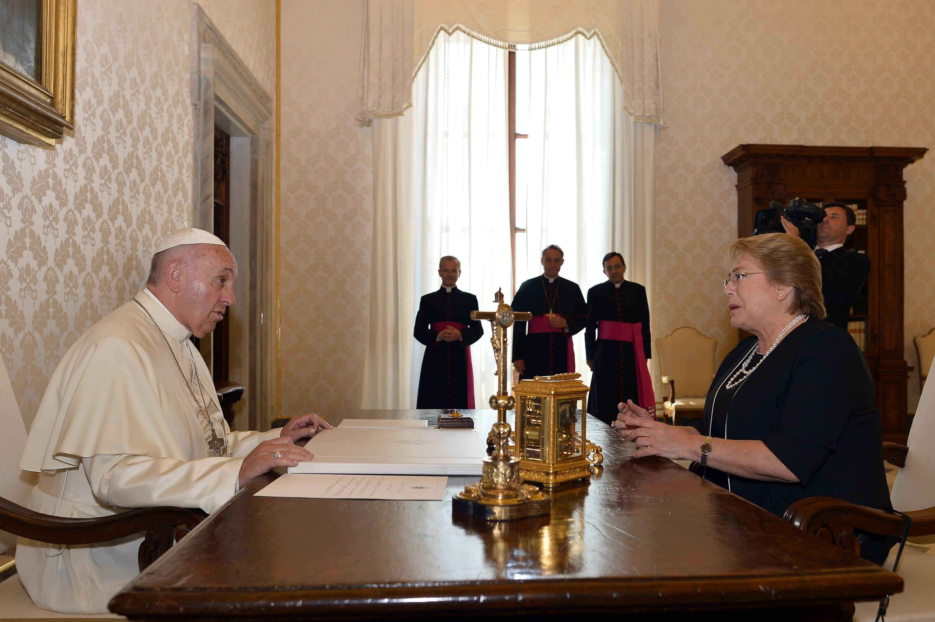 Pope Francis meets with Chile's President Michelle Bachelet during a private audience on June 5th