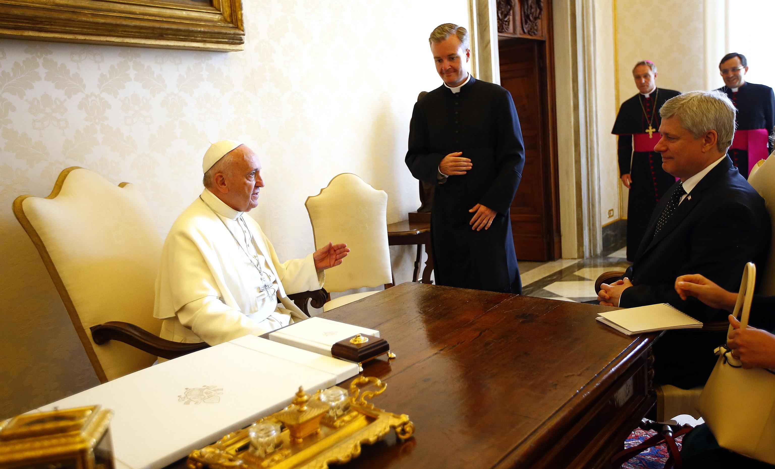Pope Francis meets Canada's Prime Minister Stephen Harper during a private audience at the Vatican City