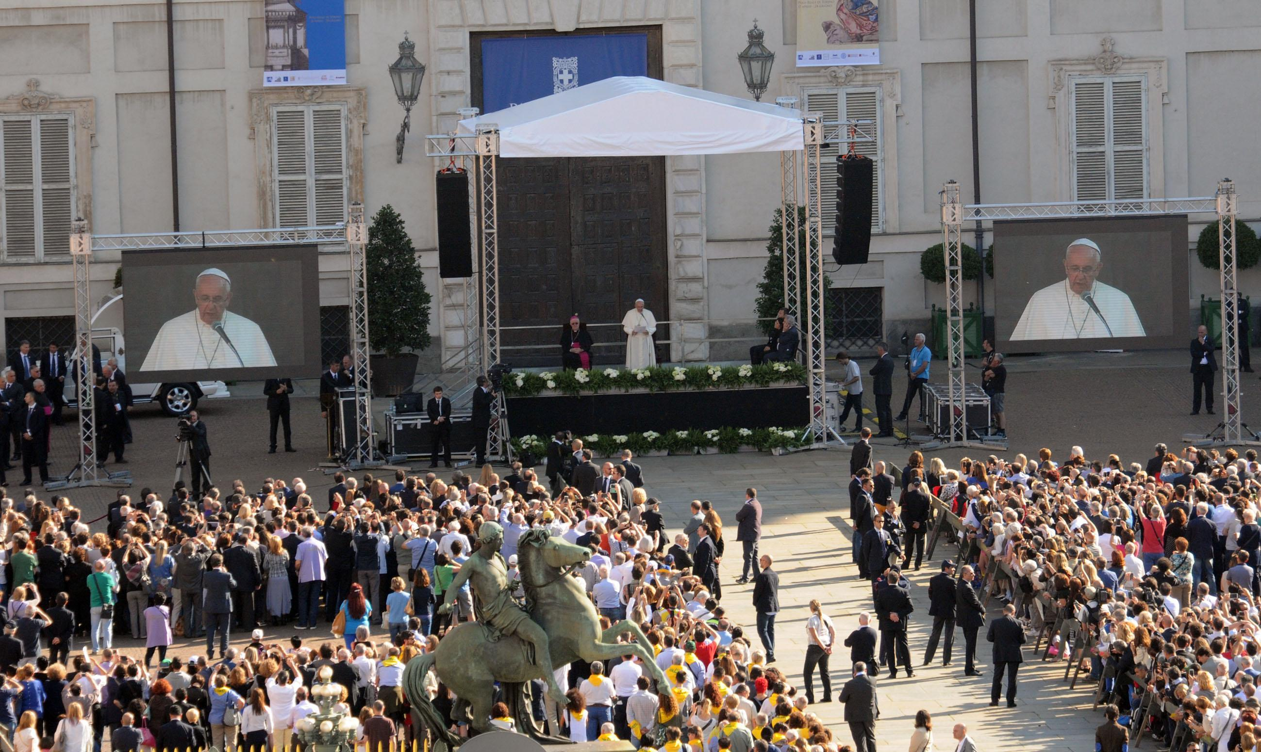 Pope Francis delivers a speech in Piazzetta Reale during his visit in Turin