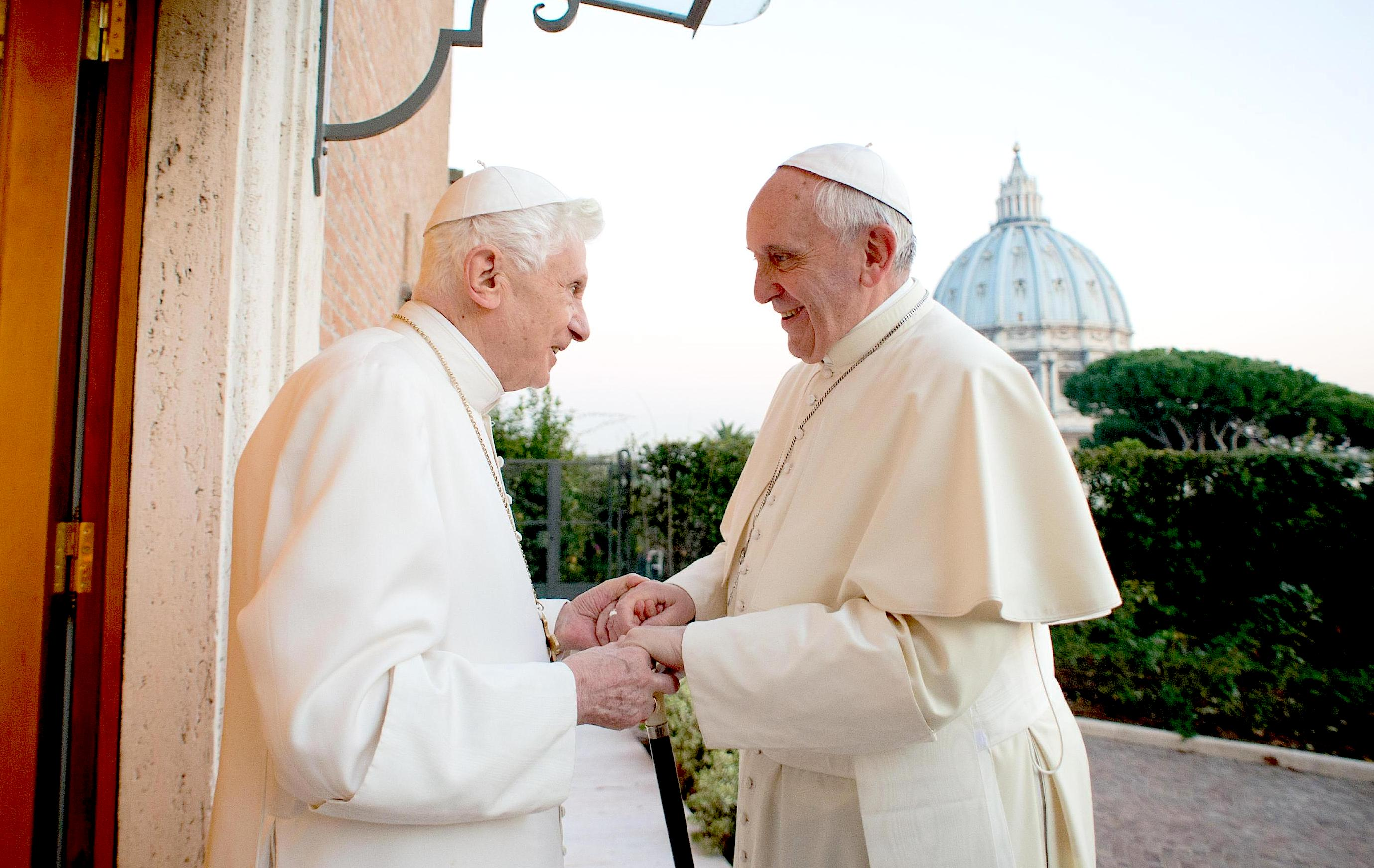 Pope Francis with pope emeritus Benedictus XVI