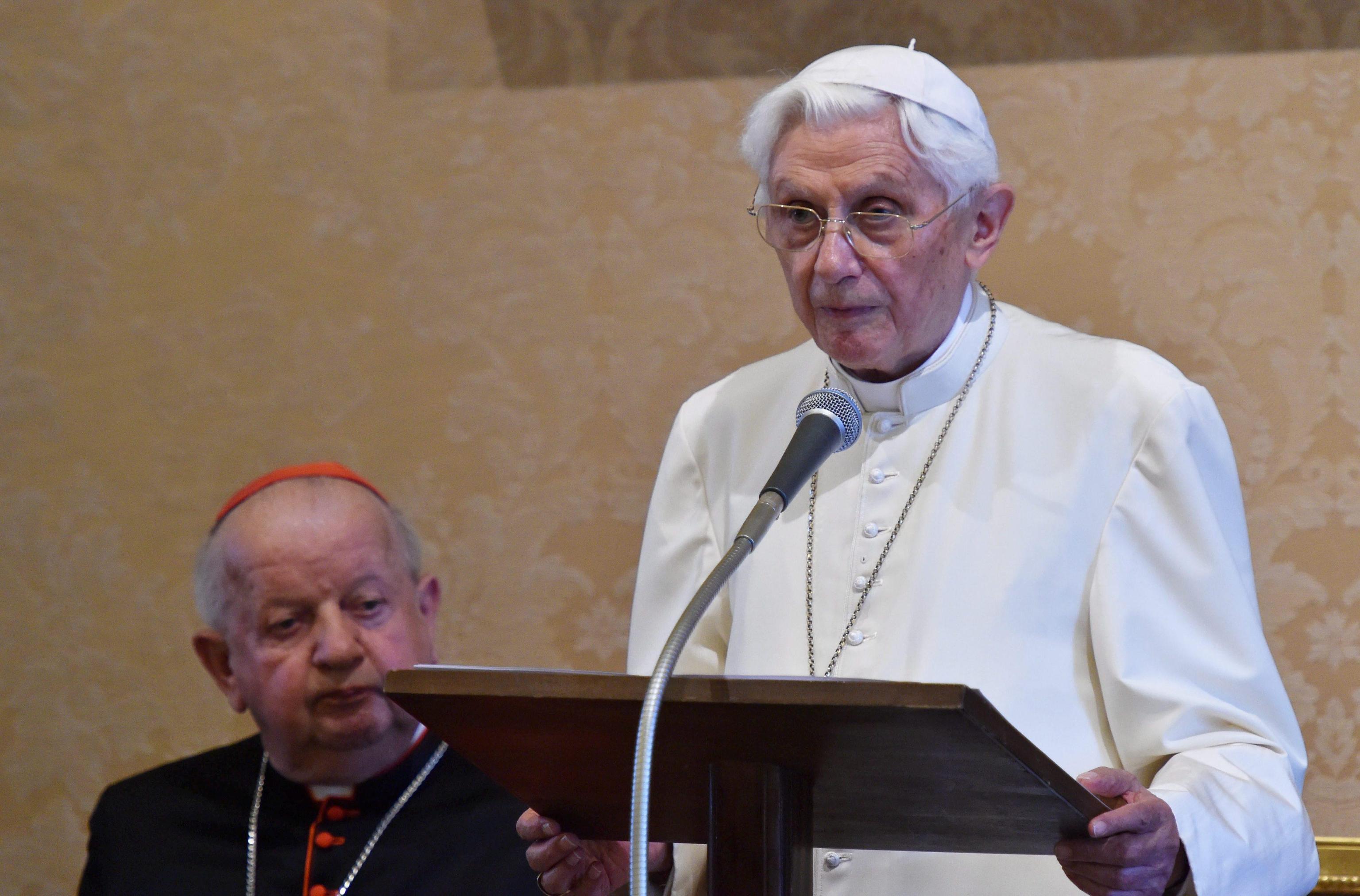 Pope-emeritus Benedict XVI after receiving two doctorates honoris causa in Castel Gandolfo