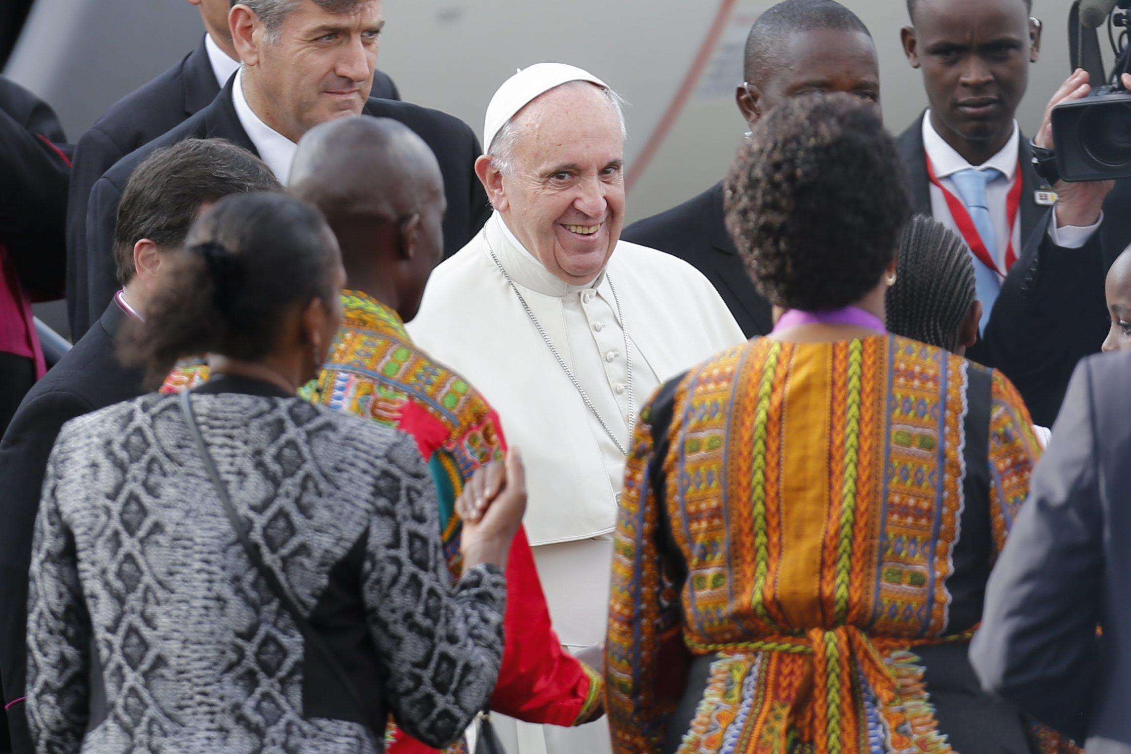 Pope Francis at his arrival at Jomo Kenyatta International Airport in Nairobi