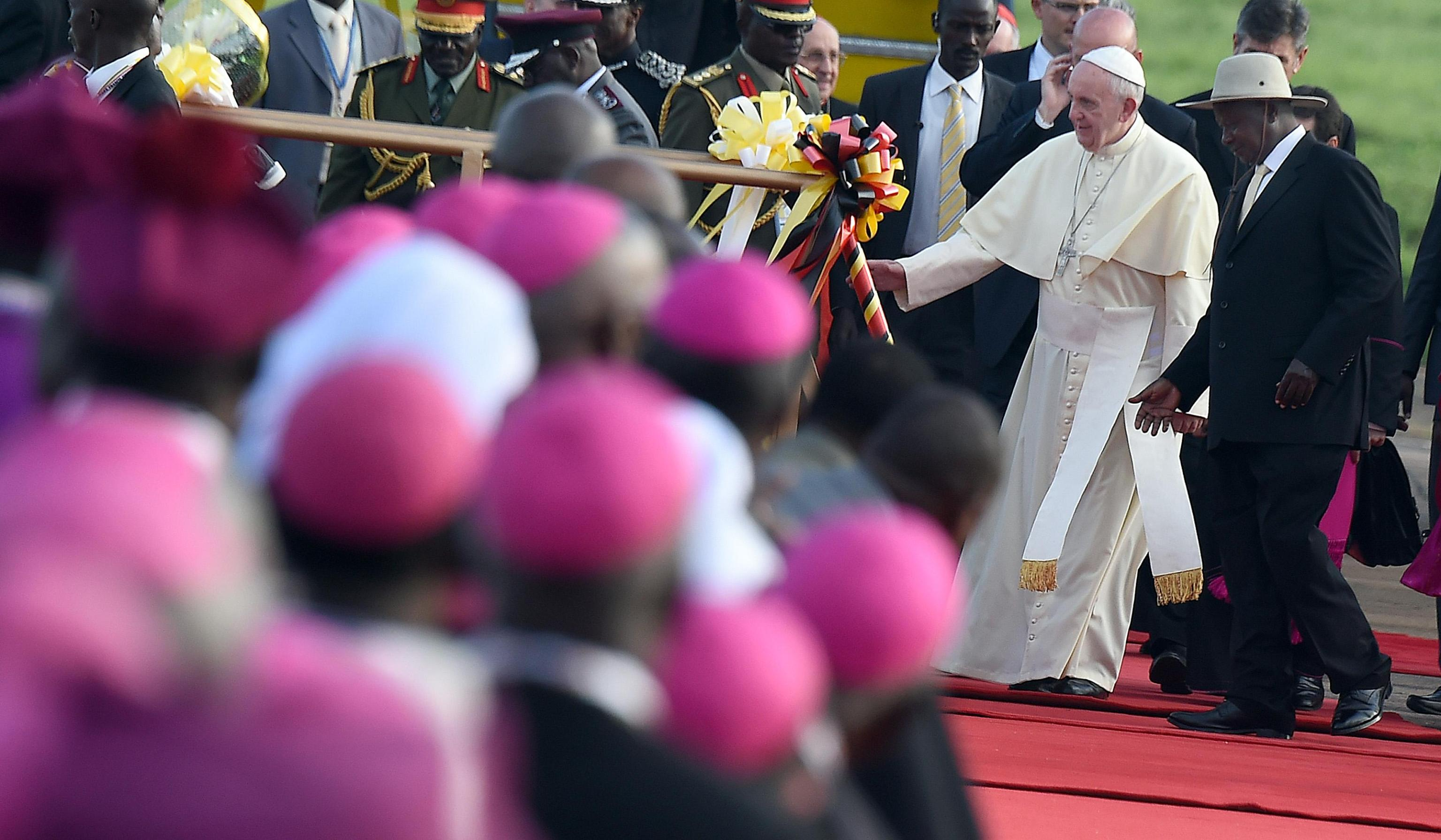 Pope Francis at his arrival at the International Airport of Entebbe