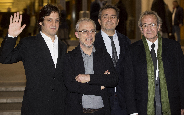 "Actors and director pose for photographers prior presentation of ""Chiamatemi Francesco"" movie in Nervi Hall"