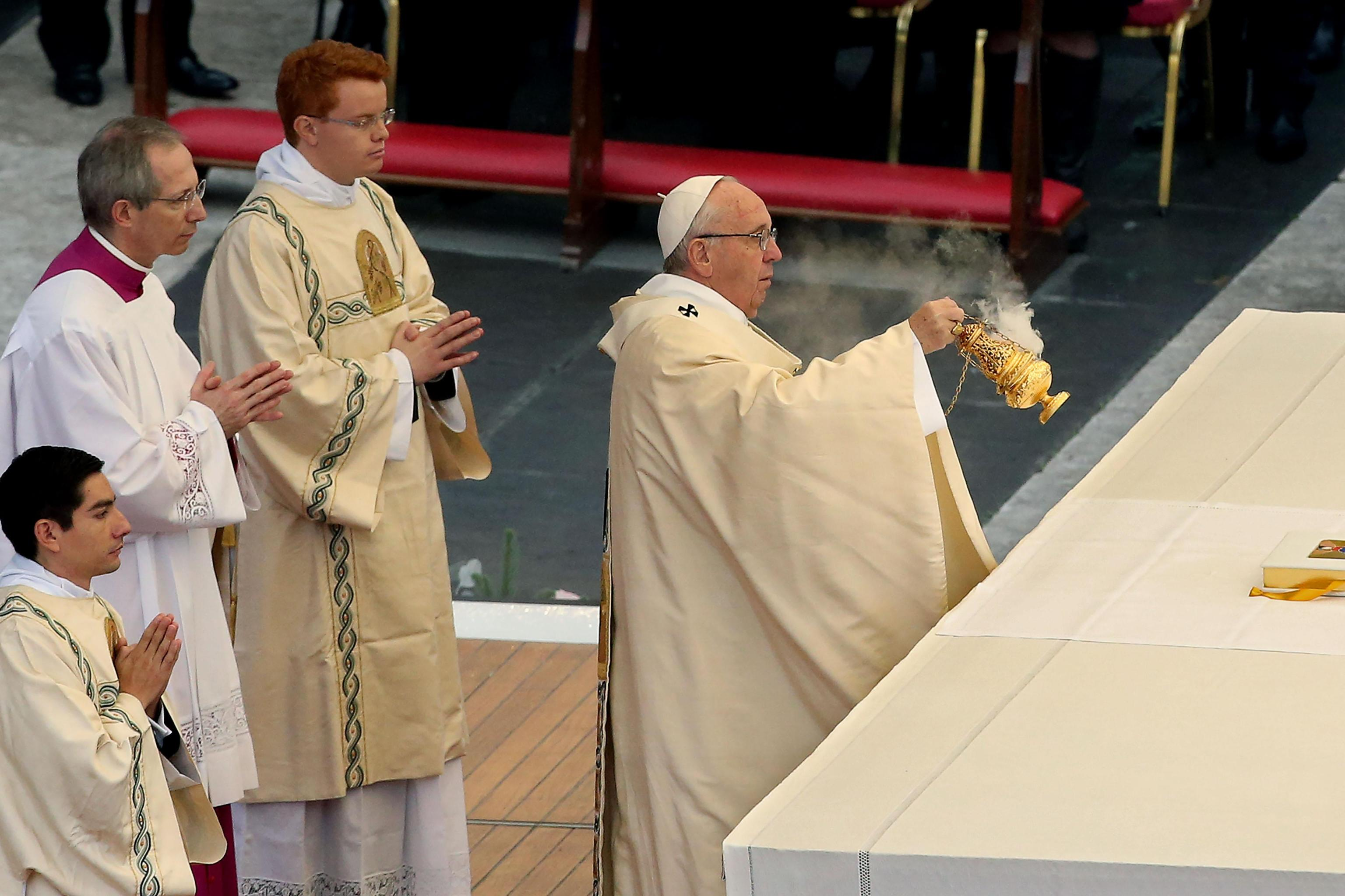 Pope Francis during the opening mass of the Jubilee of Mercy