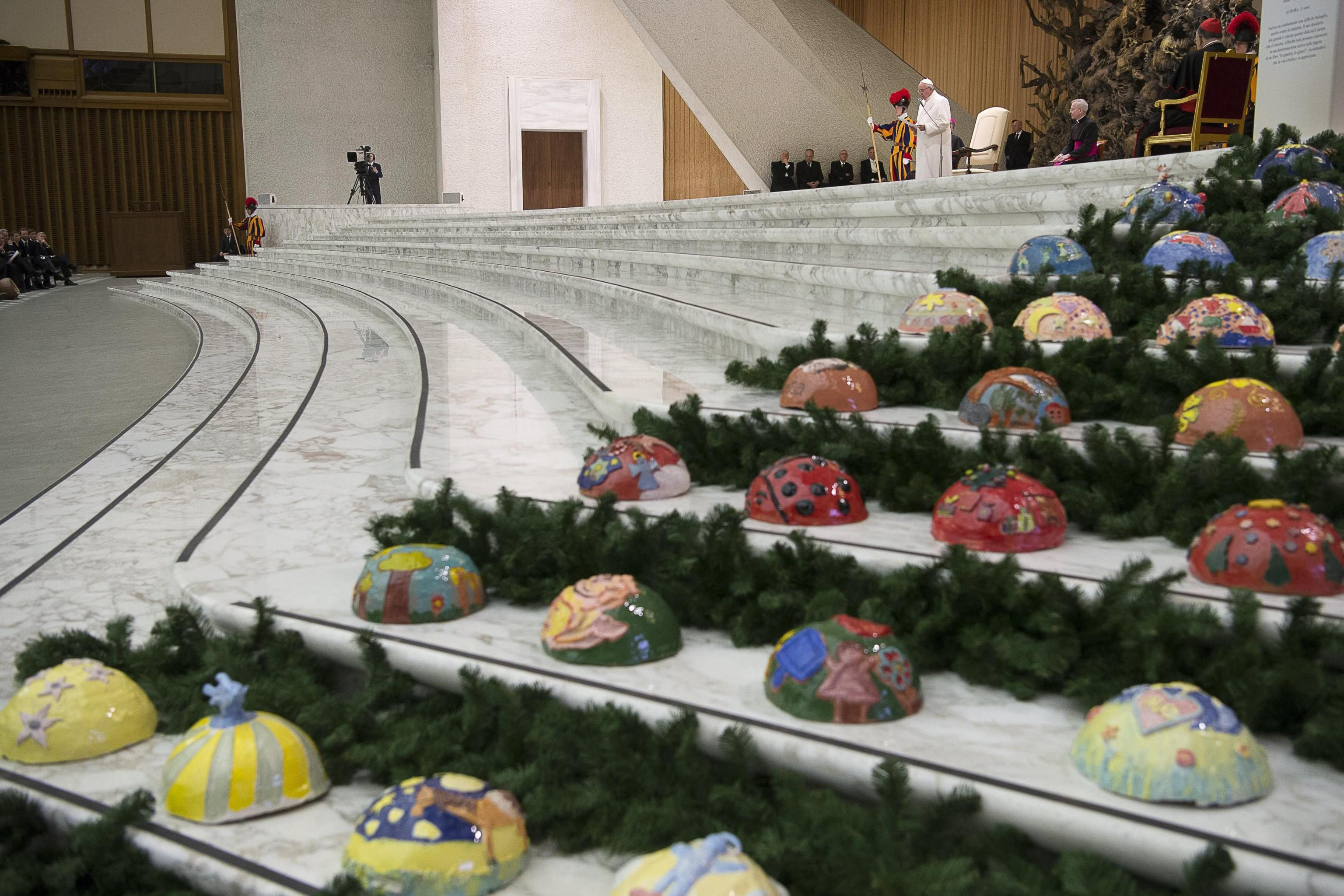 Pope Francis' during the audience to delegations from Bavaria and Trentino