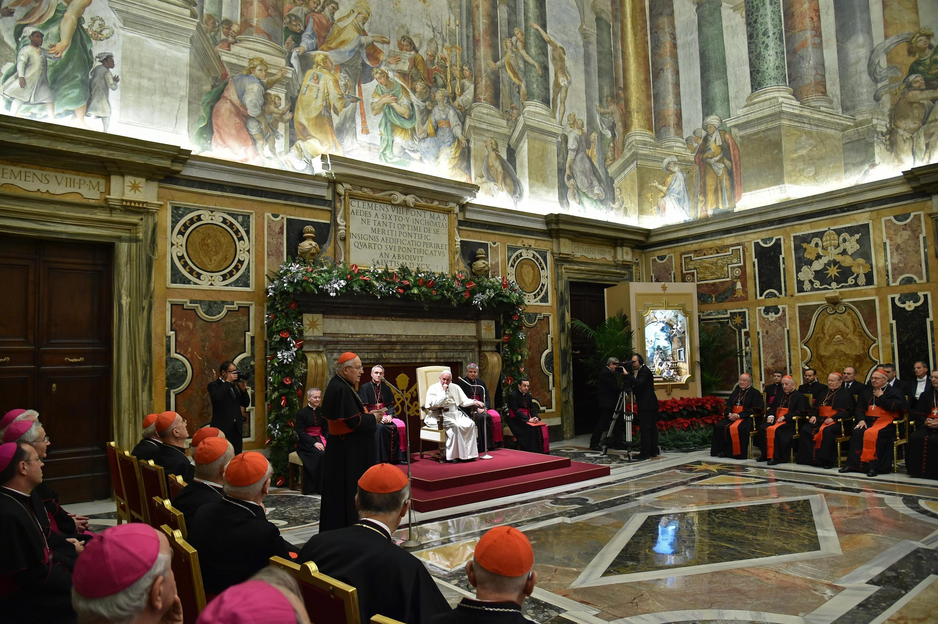 Pope Francis during the traditional Greetings to the Roman Curia