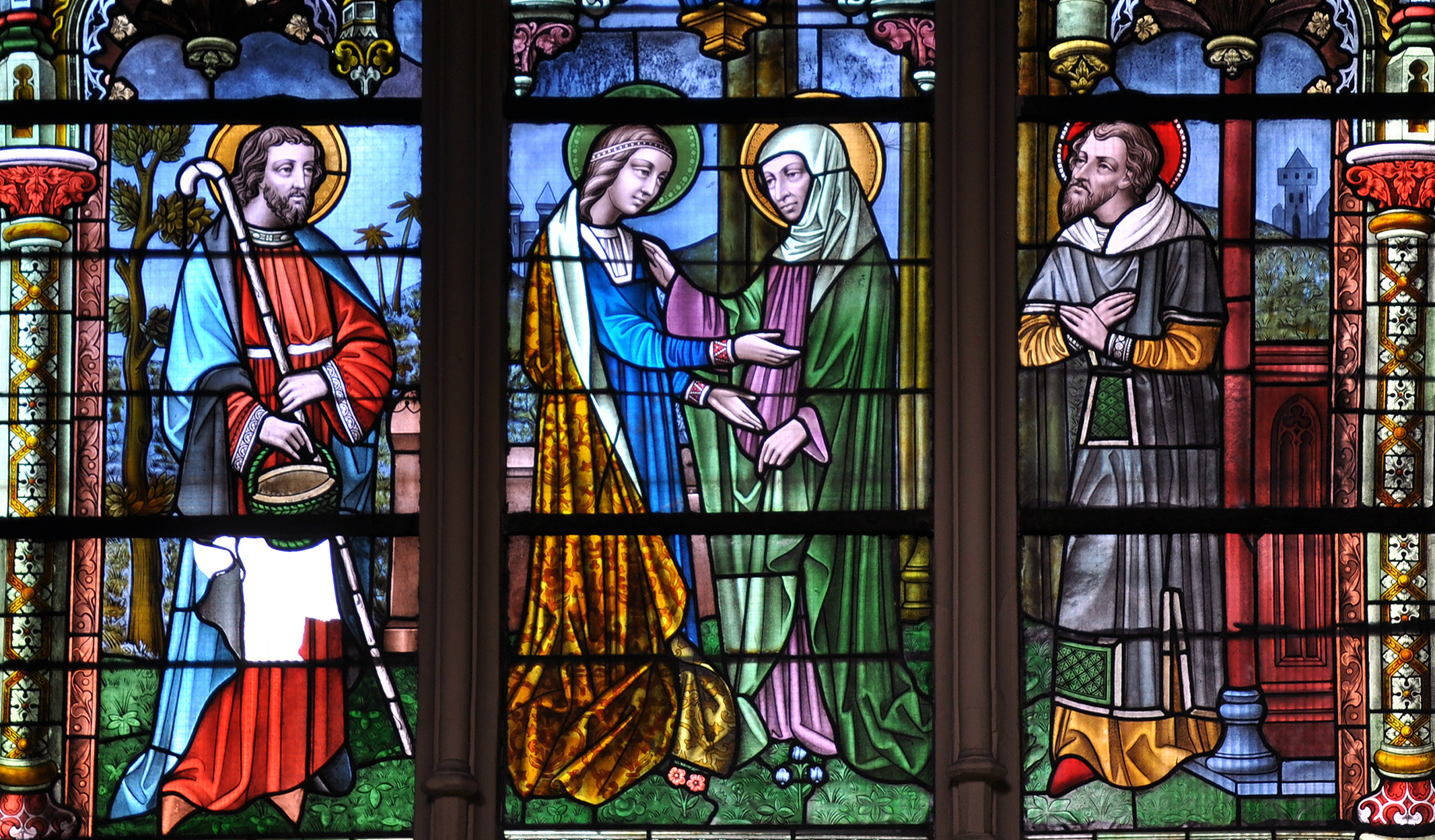 A stained glass window in Saint Jacques's Church