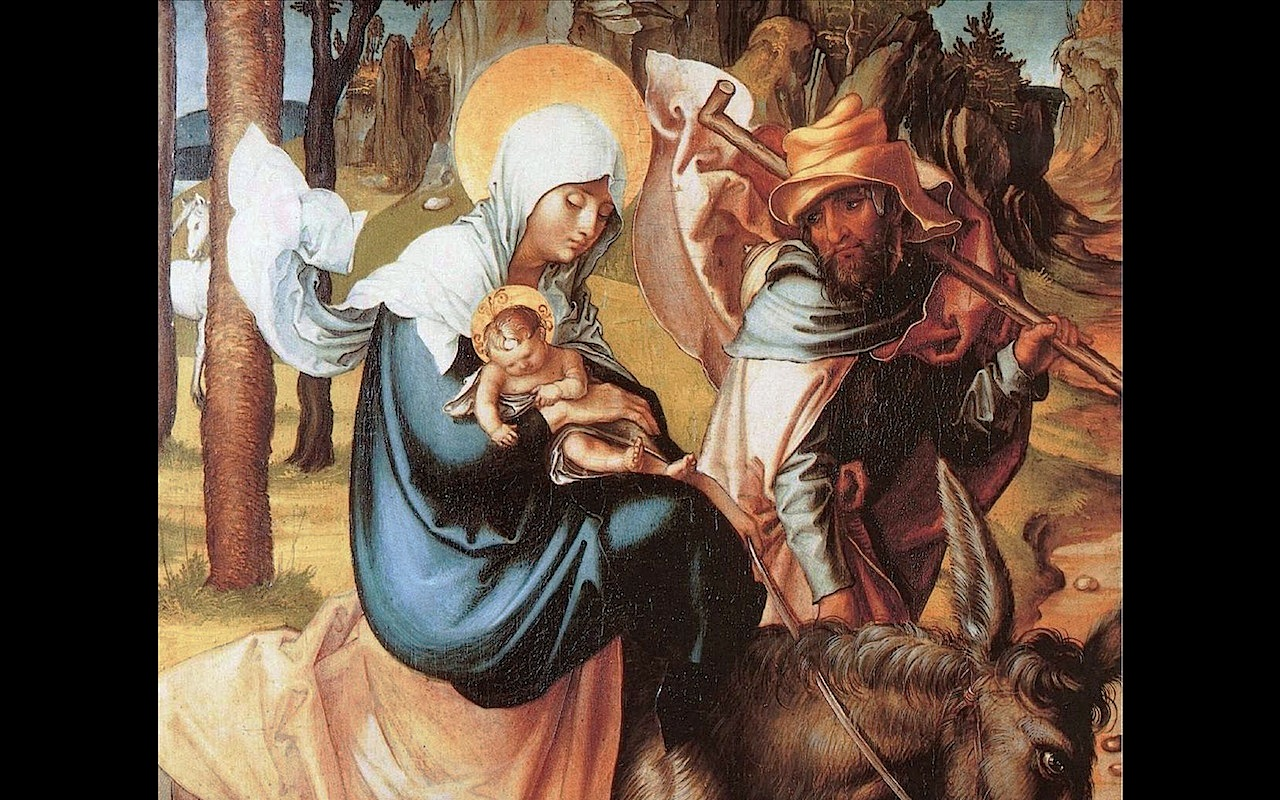 The Holy Family during the flight into Egypt