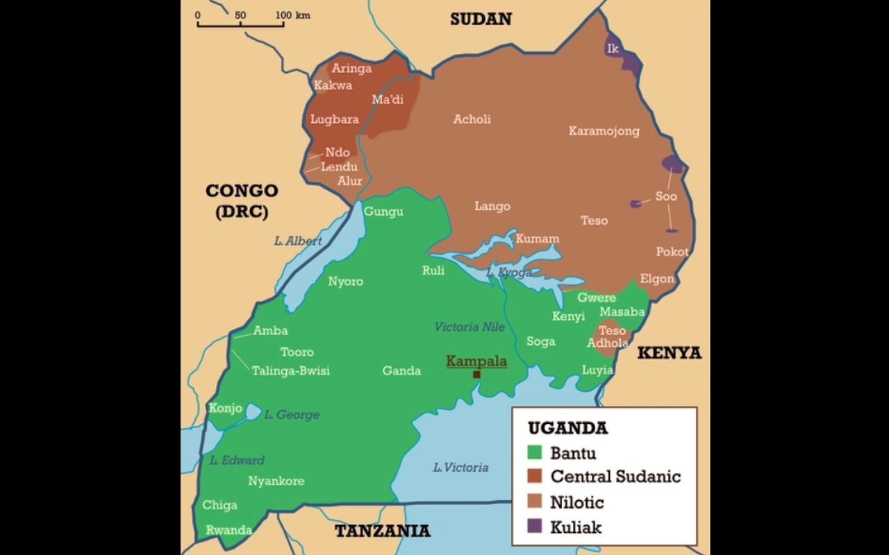 Uganda languages map
