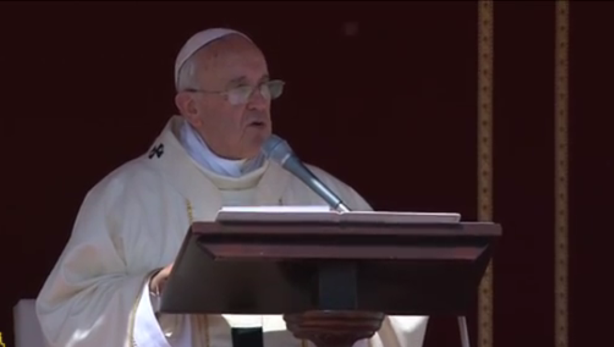 Pope Francis delivering homily at Canonization - May 17