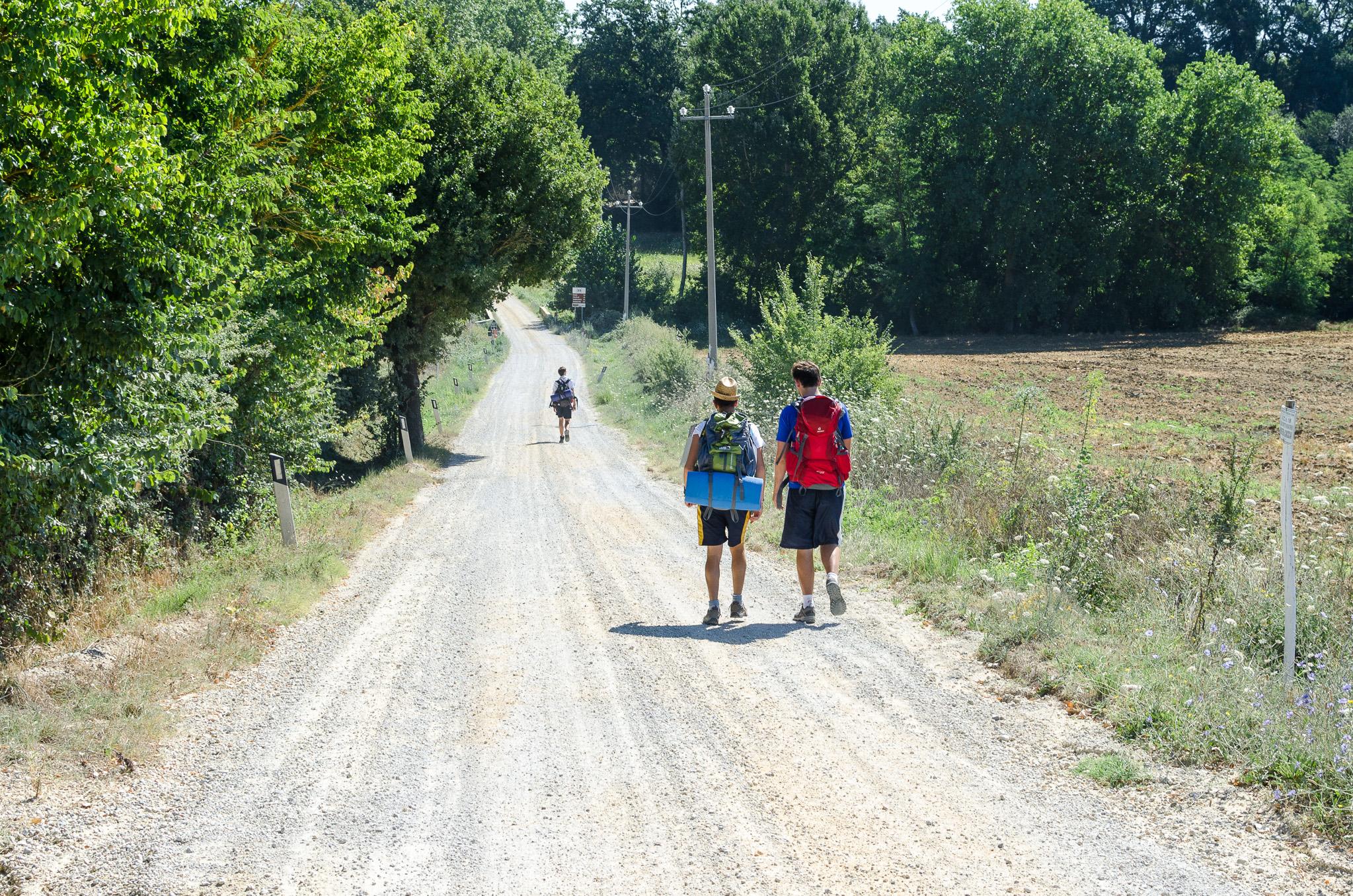 Pilgrims along via Francigena