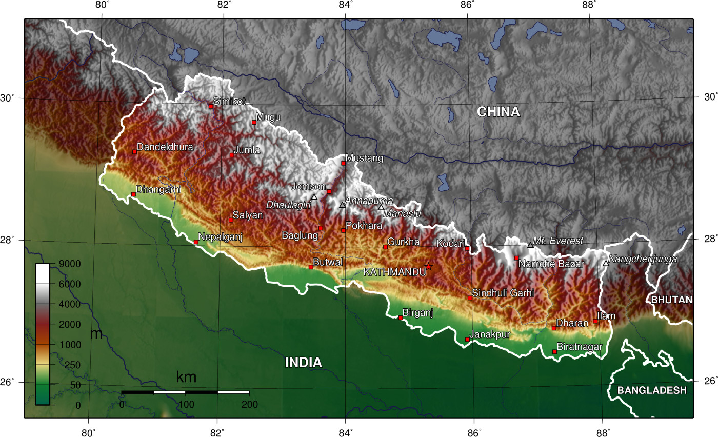 Topographic map of Nepal