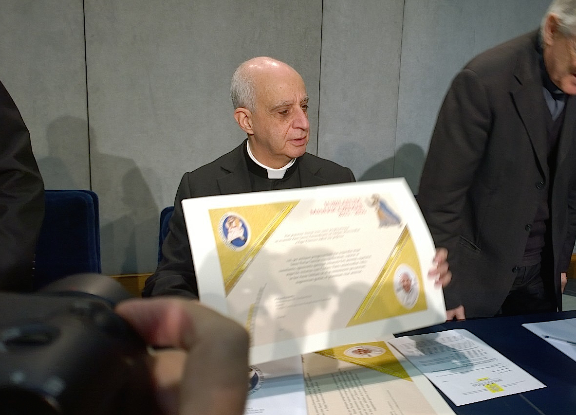 Mons. Rino Fisichella during presentation of the Jubileo of Mercy