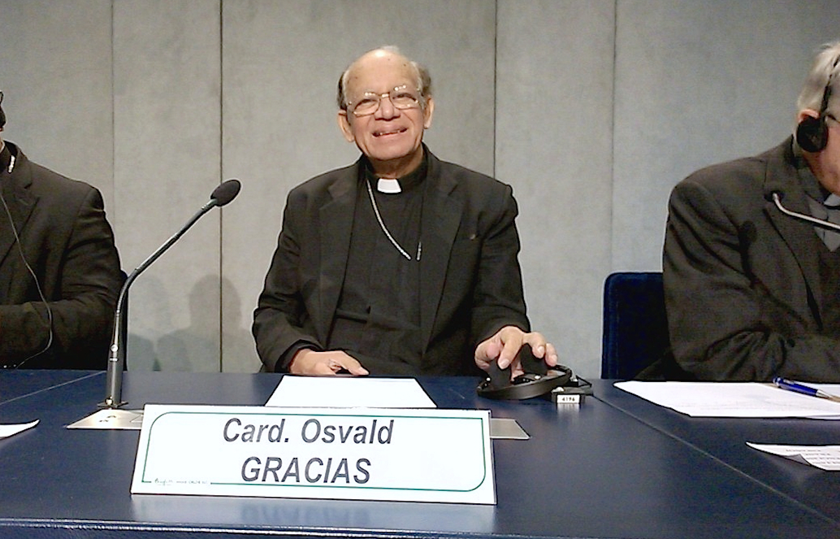 Cardinal Osvald Gracias during a briefing in the Holy See Pressroom - 22 Oct. 2015