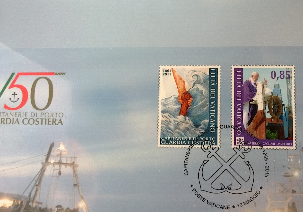 Vatican Stamp about 150 years of Coastguard