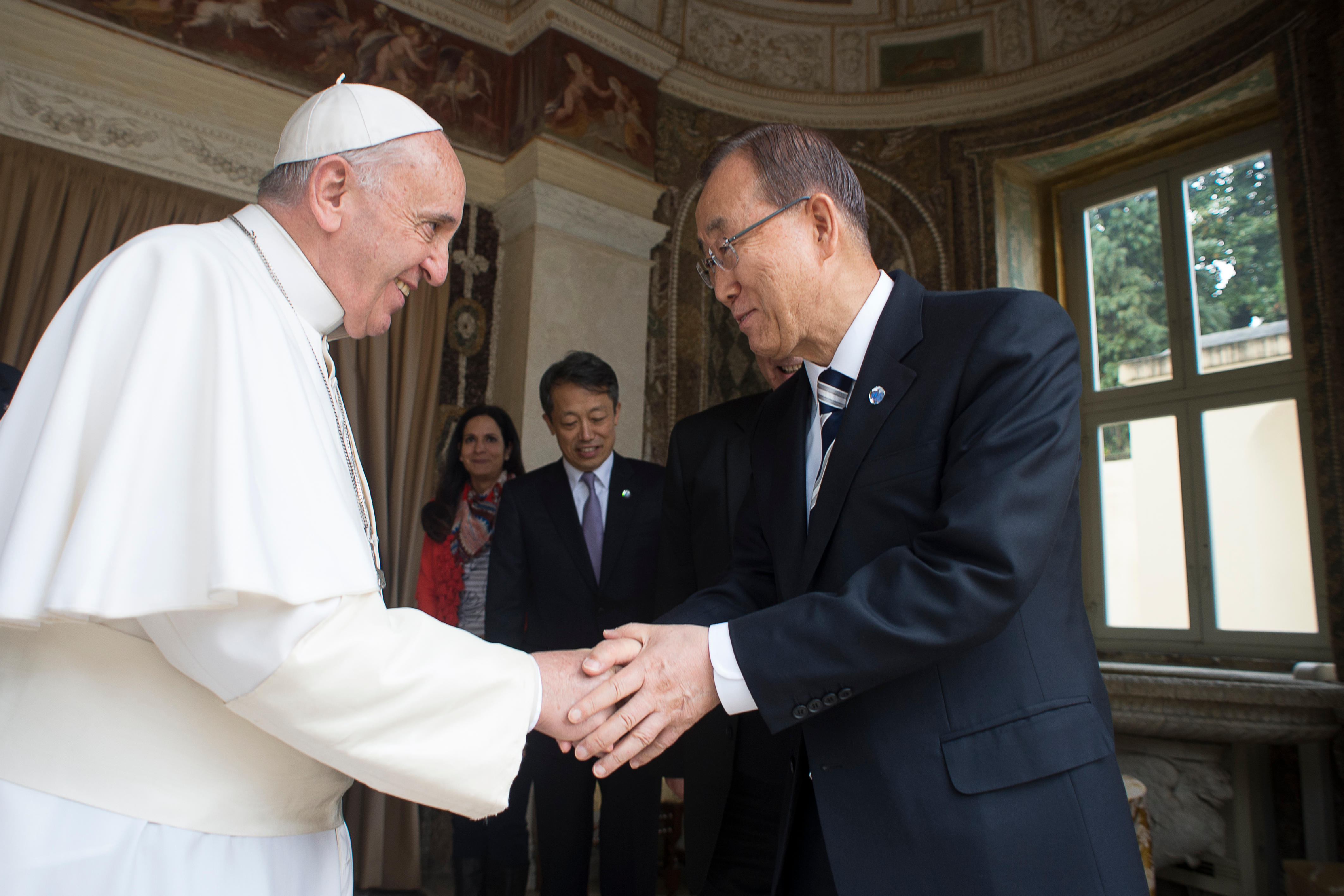 Pope Francis receiving the Secretary General of the UN