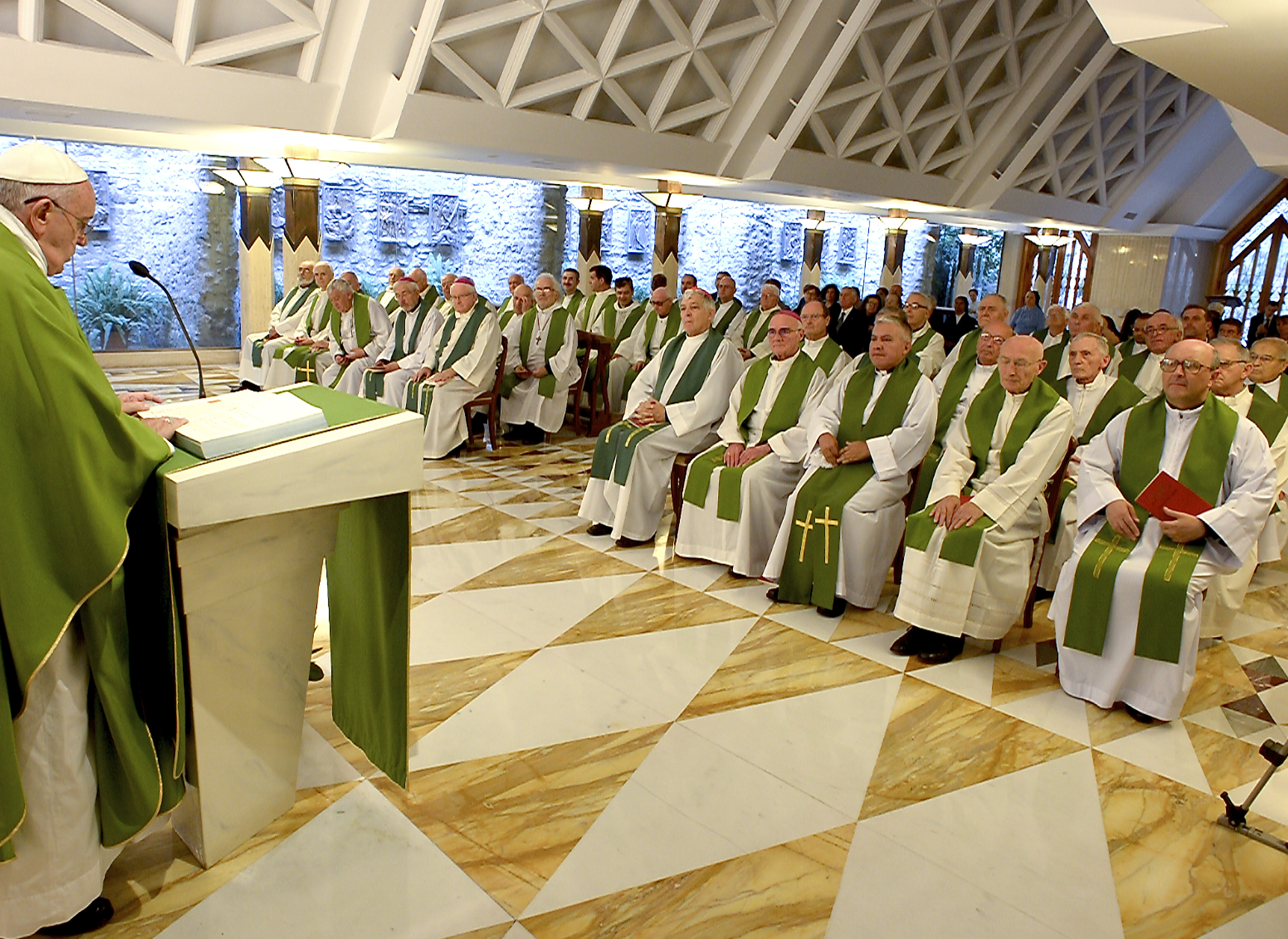 Pope Francis in Santa Marta during the homily. 2015 June 25